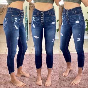 Hollister high waist distressed ankle crop skinnys